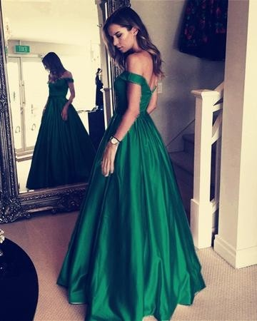 Princessly.com-K1004102 Green Satin Off Shoulder Wedding Prom Evening Party Dress-20