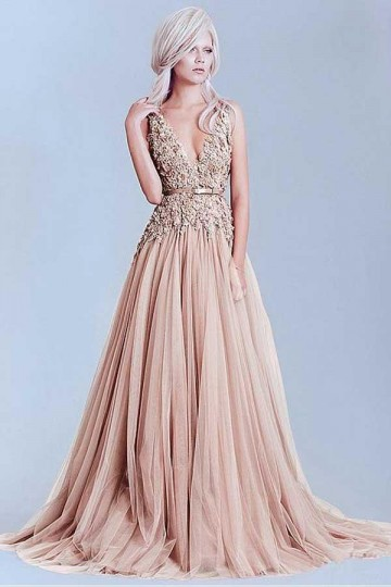 Princessly.com-K1004106-Lace Tulle V Back Wedding Evening Party Dress-20
