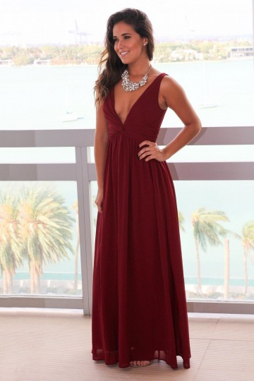 Princessly.com-K1004096-Burgundy Chiffon V Neck Back Wedding Prom Evening Party Dress-20