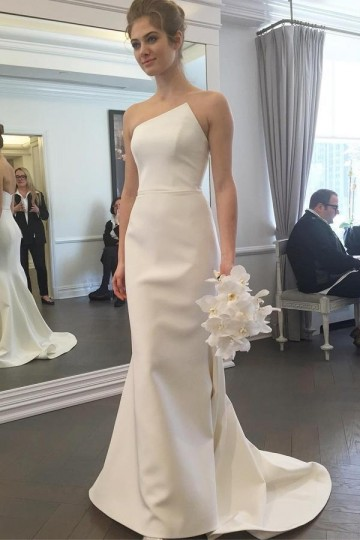 Princessly.com-K1004069-Mermaid Ivory Satin Special Neck Wedding Dress-20