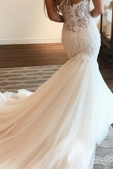 Princessly.com-K1004077-Mermaid Ivory Lace Tulle Sweetheart Neck Wedding Party Dress-20