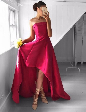 Princessly.com-K1004089-Hi-low Red Satin Strapless Wedding Prom Evening Party Dress-20