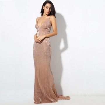 Princessly.com-K1003898-Sequin V Neck Backless Long Dress Party Evening Dress NAVY/SILVER/PINK/BLACK/RED/Champagne LM80119-20