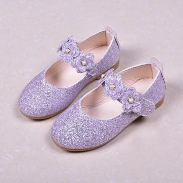 Princessly.com-K1003946-Black/Green/Lavender Leather Sequin Pearl Flat Princess Shoes Wedding Flower Girl Shoes-20