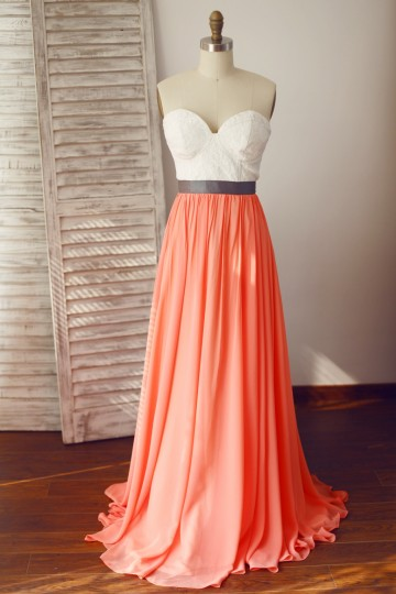 Princessly.com-K1003327-Strapless Lace Coral Chiffon Wedding Bridesmaid Dress-20