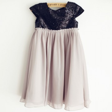 Princessly.com-K1003959-Black Sequin Gray Chiffon Cap Sleeves Wedding Flower Girl Dress-20