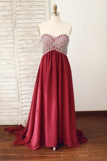 Princessly.com-K1003830-Wine Red Burgundy Chiffon Bridesmaid Dress Prom Dress Strapless Beaded Dress-20