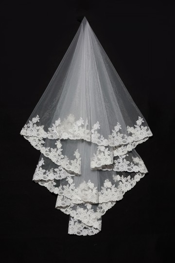 Princessly.com-K1000332-2 Layers Elbow Length Lace Wedding Veil-20