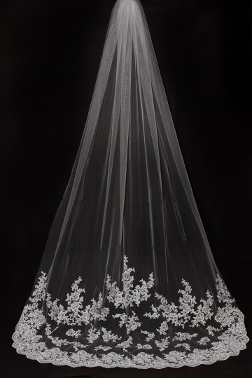 Princessly.com-K1000333-Cathedral Long Length French Lace Appliques Wedding Veil-20
