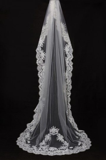 Princessly.com-K1000335-Cathedral Long Floor Length French Lace Trim Appliques Wedding Veil-20