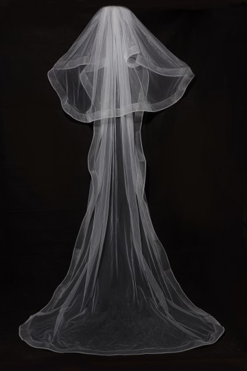 Princessly.com-K1000330-2 Layers Horsehair Trim Simple Wedding Veil-20