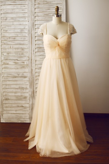 Princessly.com-K1003332 Champagne Tulle Beaded Cap Sleeves Prom Party Dress-20