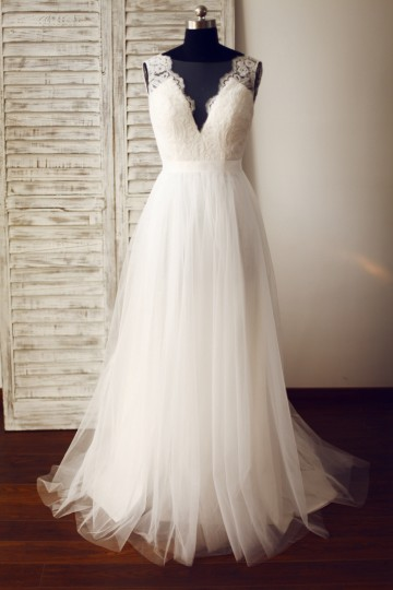 Princessly.com-K1003326 Sheer Illusion Lace Tulle Wedding Dress-20