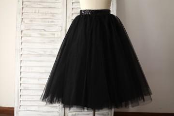 Princessly.com-K1000281-Black Tulle Petticoat Underskirt Crinoline TUTU Skirt-20
