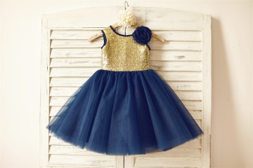 Princessly.com-K1000141-Gold Sequin Navy Blue Tulle Flower Girl Dress-20