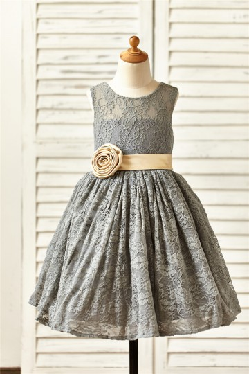 Princessly.com-K1000144-Grey Lace Flower Girl Dress with champagne sash/flower-20