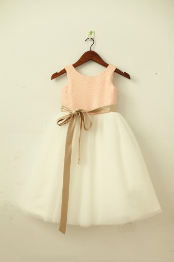 Princessly.com-K1003203-Blush Pink/Gold Sequin Ivory Tulle Flower Girl Dress with navy/champagne sash-20