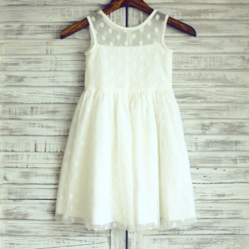 Princessly.com-K1003217-Sheer Neck Ivory Polk Dot Tulle Flower Girl Dress-20