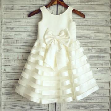 Princessly.com-K1003218-Ivory Satin Tulle Stripes Flower Girl Dress with big bow-20