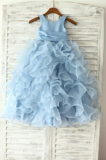 Princessly.com-K1003230-Blue Satin Ruffle Organza Skirt TUTU Princess Flower Girl Dress with matching sash/flower-20