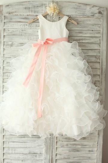 Princessly.com-K1003229-Ivory Satin Ruffle Organza Skirt TUTU Princess Flower Girl Dress with navy blue/blush sash-20