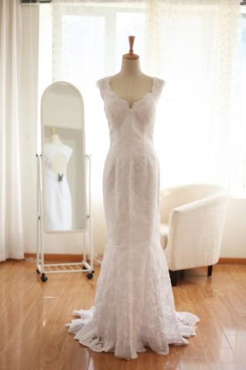 Princessly.com-K1000016-Vintage Lace Keyhole Mermaid Wedding Dress-20