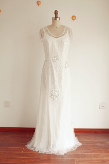 Princessly.com-K1003282-A Line Vintage 2 Pieces Beaded Tulle Wedding Dress-20