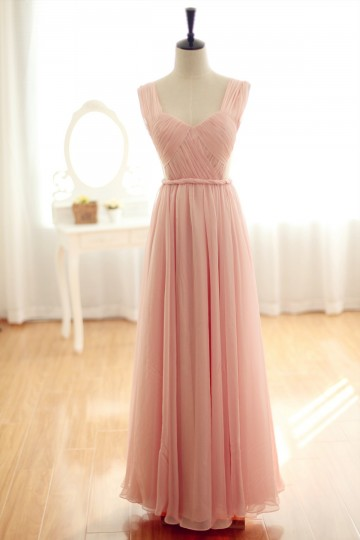 Princessly.com-K1001935-Blush pink Chiffon Bridesmaid Dress Prom Dress Backless Party Dress-20