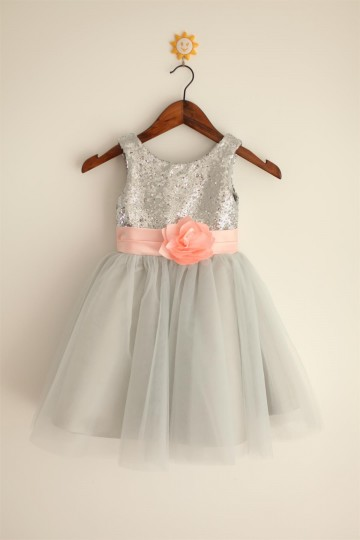 Princessly.com-K1000023-Silver Grey Sequin Tulle Flower Girl Dress with blush pink belt-20