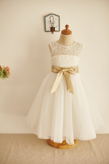Princessly.com-K1003961-Ivory Lace Tulle Keyhole Back Wedding Flower Girl Dress with Belt-20