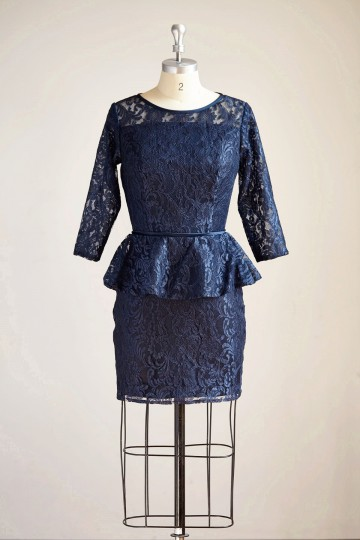 Princessly.com-K1000288-Long Sleeves Navy Blue Lace Short Bridesmaid/Mother Dress Bridal Gown-20
