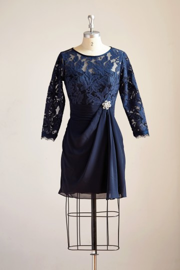 Princessly.com-K1000290-Long Sleeves Navy Blue Chiffon Lace Short Knee Length Mother Dress/Wedding Party Mother of Bride Dress-20