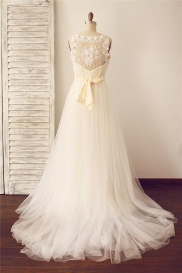 Princessly.com-K1000093-Vintage Sheer Illusion V Neck Lace Tulle Wedding Dress with Champagne lining-20
