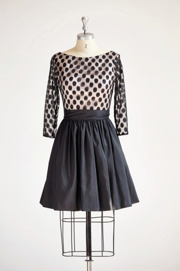 Princessly.com-K1000313-Long Sleeves V Neck Polka Dots Tulle Black Taffeta Short Wedding Bridesmaid Party Dress-20