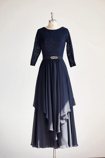 Princessly.com-K1000314-Modest Long Sleeves Navy Blue Lace Chiffon Long Wedding Mother Dress-20