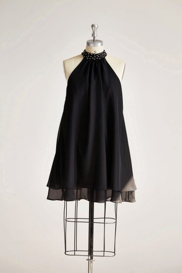 Princessly.com-K1000317 Black Chiffon High Neck Beaded Short Bridesmaid Dress-20