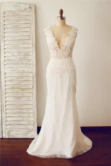 Princessly.com-K1000094-Sexy Fitted Deep V Neck Sheer Illusion Back Lace Wedding Dress-20