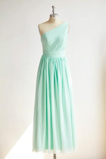 Princessly.com-K1000299-One Shoulder Mint Blue Chiffon Long Wedding Bridesmaid Dress-20