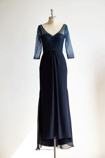 Princessly.com-K1000297-V Neck Elbow Length Sleeves Navy Blue Beaded Chiffon Tulle Wedding Mother Dress-20