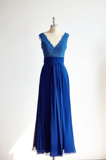 Princessly.com-K1000295-Sexy V Neck Royal Blue Lace Chiffon Long Bridesmaid Dress-20