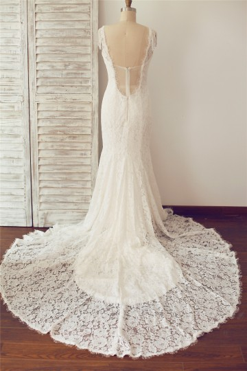 Princessly.com-K1000096-V Neck Backless Mermaid Lace Wedding Dress-20