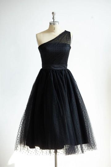 Princessly.com-K1000300-One Shoulder Black Polk Dot Tulle Short Tea Length Prom Party Dress-20