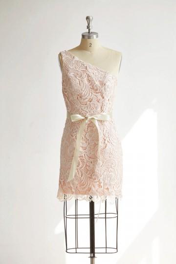 Princessly.com-K1000301-One Shoulder Ivory Lace Pink Ling Short Wedding Bridesmaid Dress-20