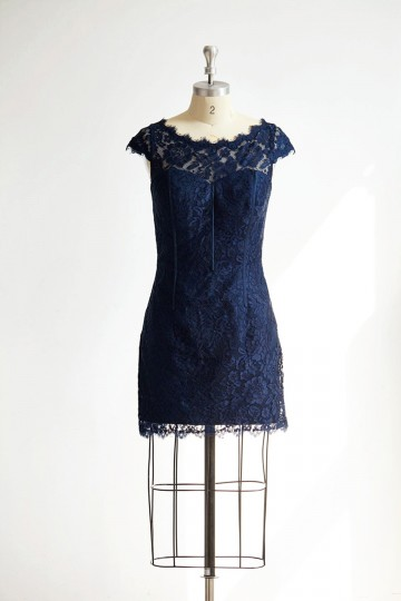 Princessly.com-K1000303-Cap Sleeves Keyhole Back Navy Blue Lace Short Knee Wedding Bridesmaid Dress-20
