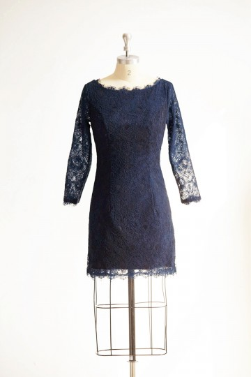 Princessly.com-K1000304-Long Sleeves Navy Blue Lace Short Wedding Bridesmaid Dress/Mother Dress-20
