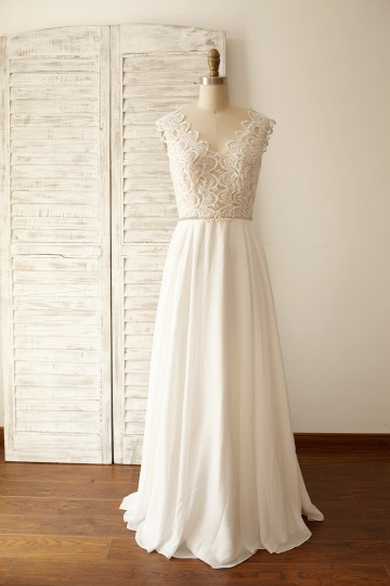 Princessly.com-K1000058-Sheer Lace Deep V Back Chiffon Wedding Dress-20
