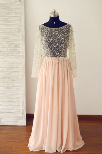 Princessly.com-K1000242-Sheer Sexy Blush Pink Long Sleeves Tulle Chiffon Prom Dress-20