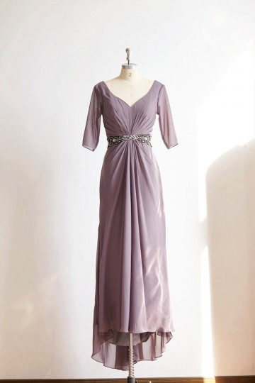 Princessly.com-K1000322-Long Sleeves V Neck Gray Chiffon Wedding Mother dress/Mother of Bride Dress-20