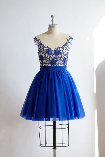 Princessly.com-K1000324-V Back Royal Blue Lace Tulle Short Knee Length Prom Party Dress-20