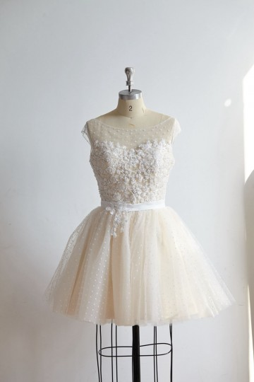 Princessly.com-K1000325-Cap Sleeves Beaded Lace Polka Dot Tulle Short Prom Party Dress-20